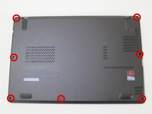 背面の7つのネジを外す X240sのSSD換装(HDDの交換)