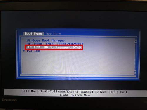 ブートメニューでリカバリーメディアを選択 換装したSSDにリカバリーメディアで復元する