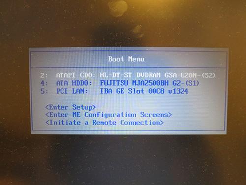 WindowsXP対策 ThinkPad X200sブートメニューで起動ディスクを選択