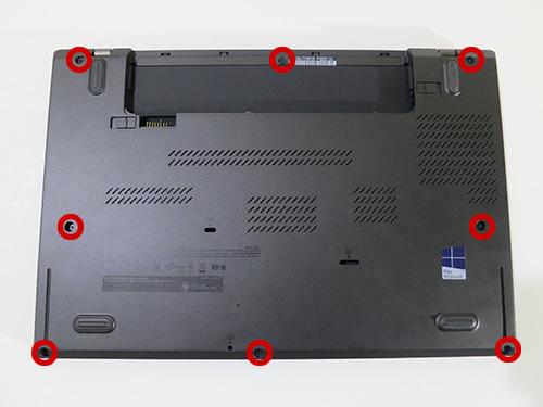 ThinkPad T440s背面のねじを緩める