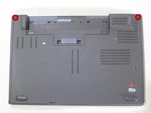 ThinkPad T440p 2本のねじを外す
