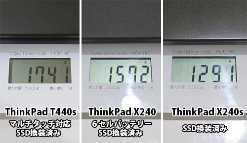 ThinkPad T440s X240 X240sの重さをそれぞれ比べてみる