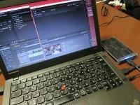 ThinkPad X240s とadobe premiereを使って動画編集中