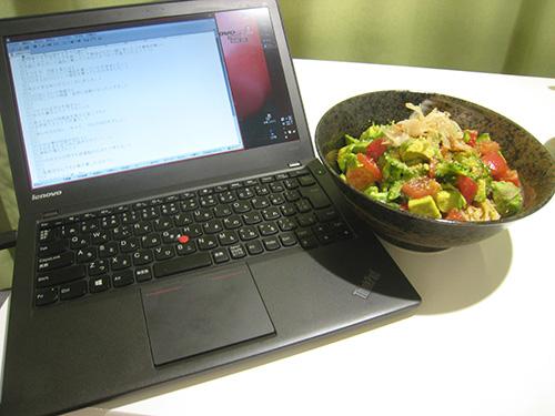 thinkPad X240sとサラダうどん