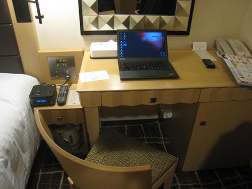 ホテルのデスクでThinkPad X240s