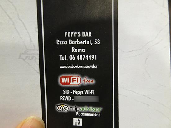 Pepy's Bar メニューの後ろにWIFIのパスワードが記載されていた