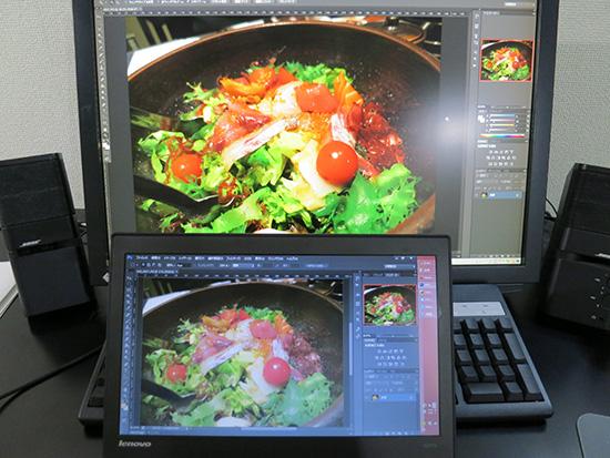 ThinkPad X240s 液晶の色調整 EIZO FLEXScanに写真を表示させて比べます