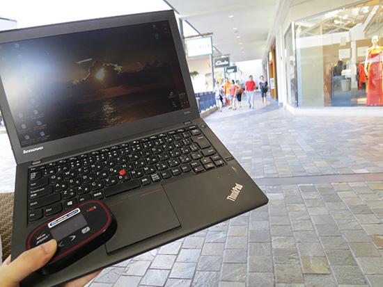 アラモアナショッピングセンターでグローバルWIFIを使って速度を計測