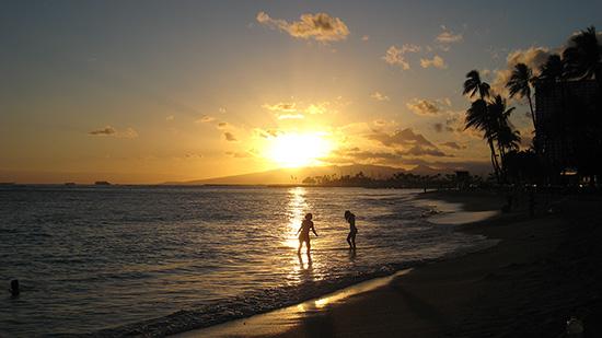 ハワイ壁紙素材ダウンロード サンセット(ワイキキビーチ)