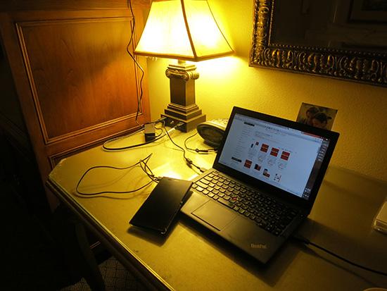 ホテルの部屋でREADY SIMを使ってThinkPad X240sをテザリング