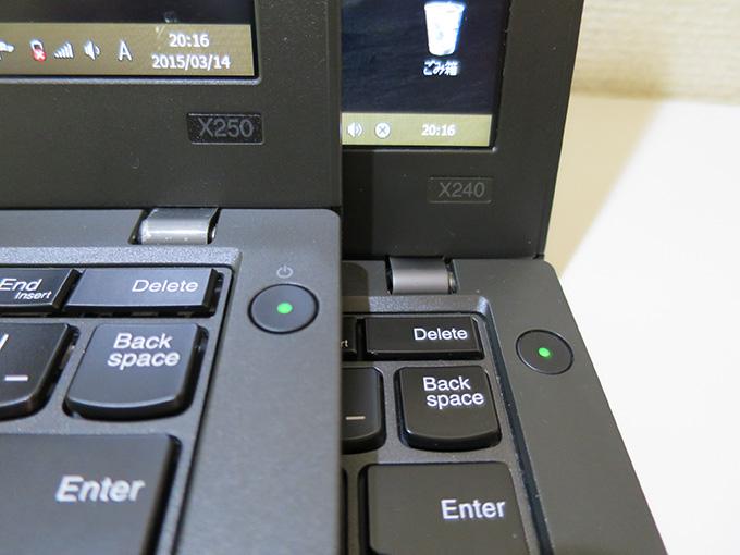 X250になって電源ボタンの上に電源マークがついた