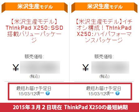 ThinkPad X250直販サイトでの最短納品日