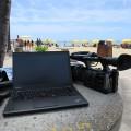 ハワイのビーチでThinkPad X250とHXR-NX3