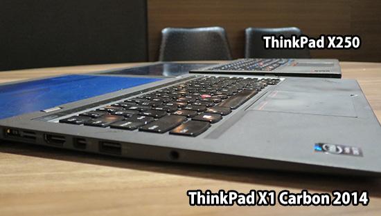 ThinkPad X1 carbonとX250を横からみて厚さを比べてみる