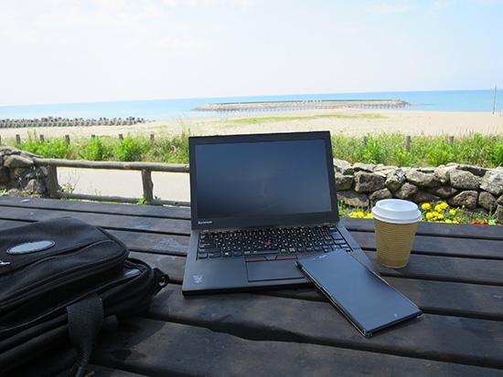 海辺でもThinkpad X250にocnモバイルONEのSIMが入ってるスマホを使ってテザリング