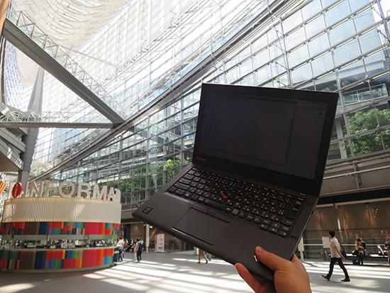 東京国際フォーラムで thinkpad X250 ひんぱんに電源を入れるにはSSDが一番