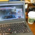 ThinkPad X250 in 新大阪新幹線構内のスタバ WIFIが超高速です
