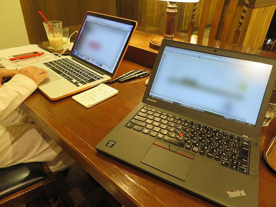 ThinkPad X250 とMacBook 麻布十番スタバ
