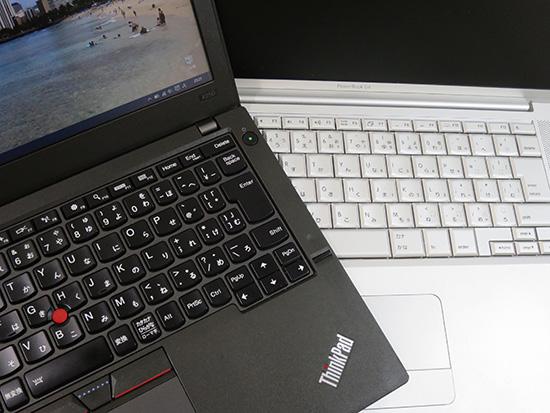 ThinkPad X250 と Mac パワーブックG4 キーボード