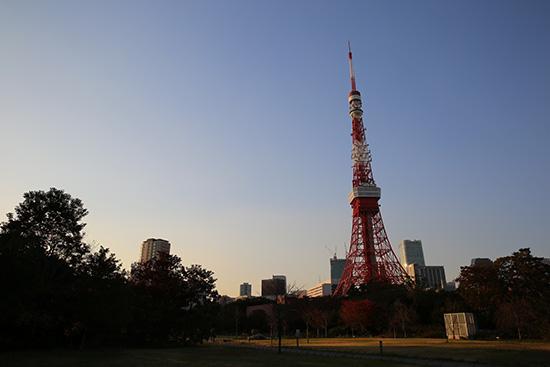 ザ・プリンスパークタワー東京の庭から東京タワー