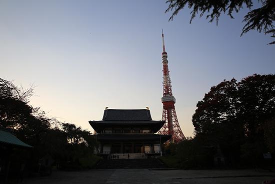 増上寺と東京タワー 夕暮れ時