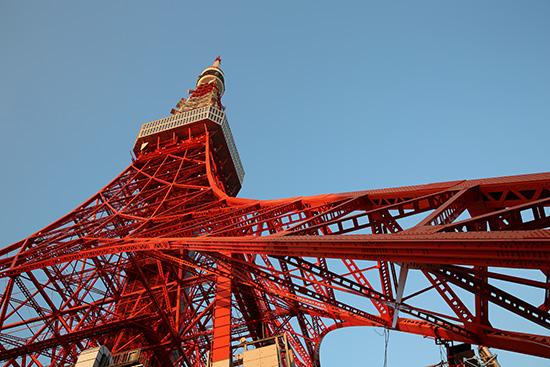 夕暮れに照らされた東京タワー
