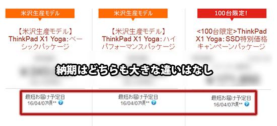 X1 Yoga 米沢生産モデルと海外生産モデル納期の違い