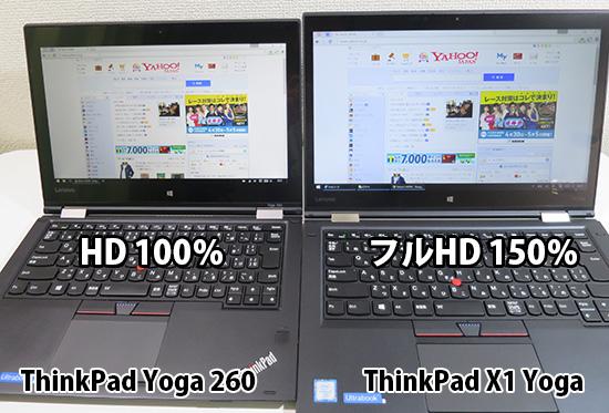 X1 Yoga Yoga 260 HD と FHD 画面を比較