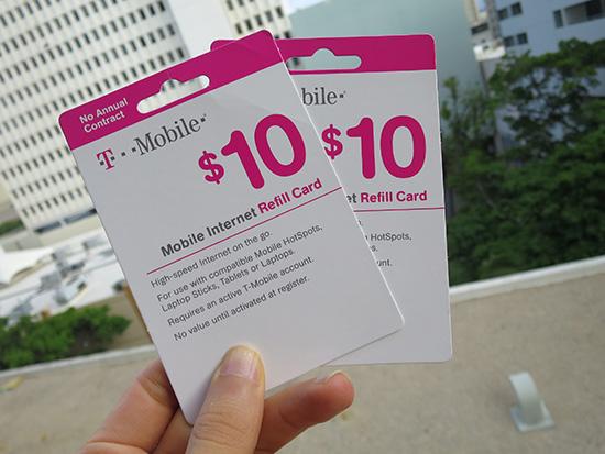 t-mobile 10ドルのリフィルカードで・・・