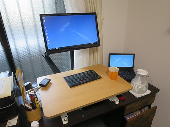 社長の仕事場 スタンディングデスクとモニターアームとThinkpad X260
