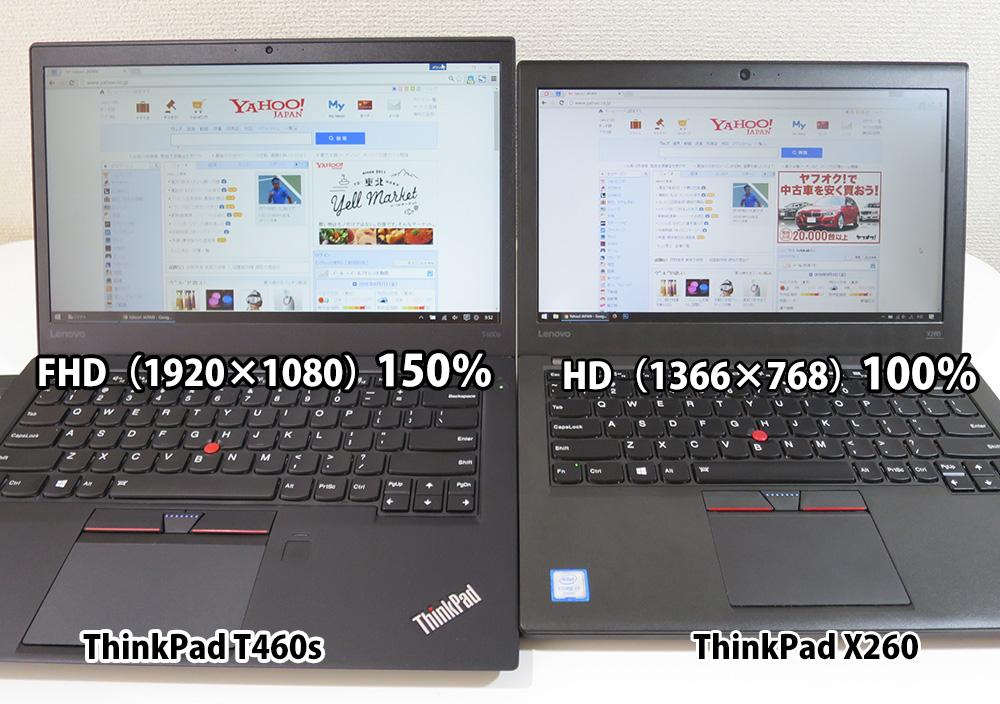 T460sとX260 FHD150%とHD