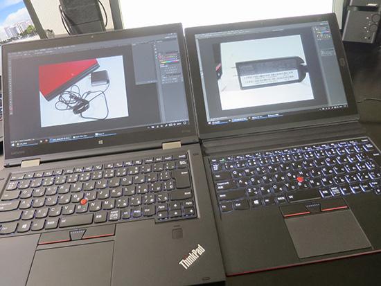 X1 YogaとX1 tablet フォトショで 写真を同時に開いてみる