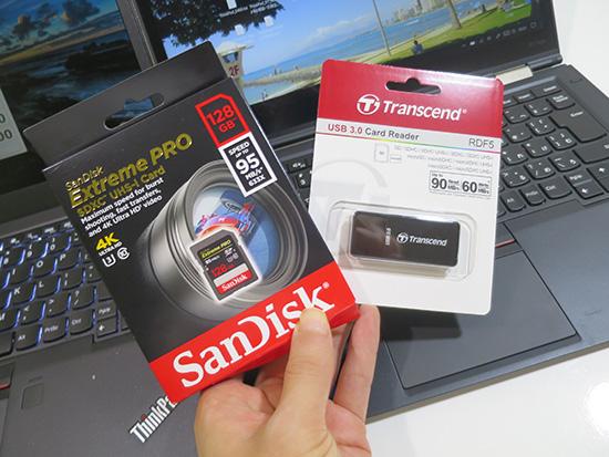 サンディスク エクストリームプロ SDXC 128GBと トランセンド USB3.0 カードリーダー