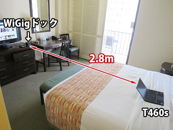 WiGigドックとT460sの距離 2.8m