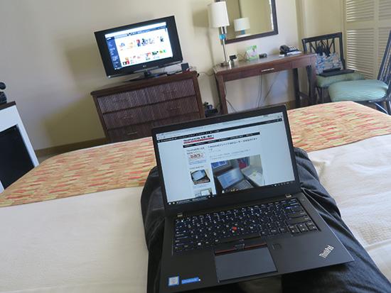 ThinkPad WiGigドックとT460s ベッドの上でワイヤレスドッキング