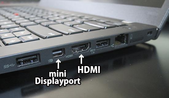 T460s 右側面のHDMI端子とミニディスプレイポート