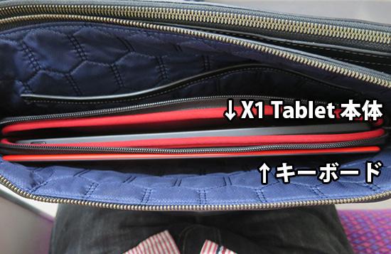ThinkPad X1 Tabletを入れた鞄の中