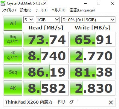 ThinkPad X260 SDカードスロット ベンチマーク