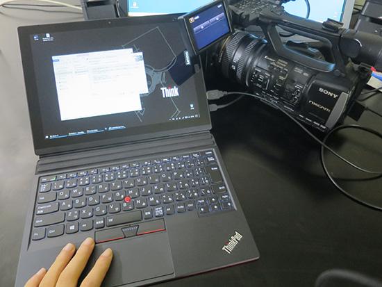 X1 Tabletに業務用カメラを直接USB端子につなげて動画取り込み