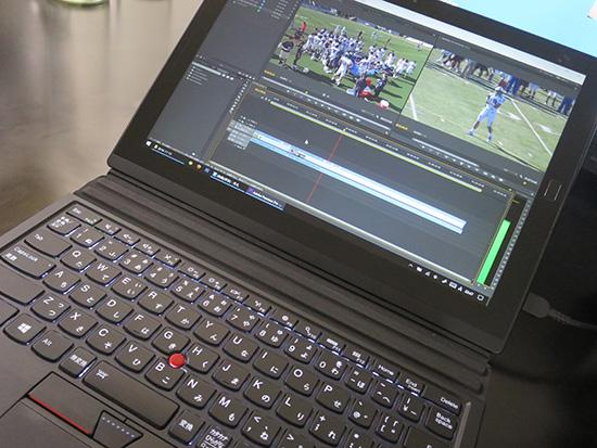 X1 Tablet で動画編集ソフトのタイムラインを再生