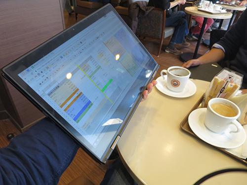 X1 Yoga タブレットモードでミーティング