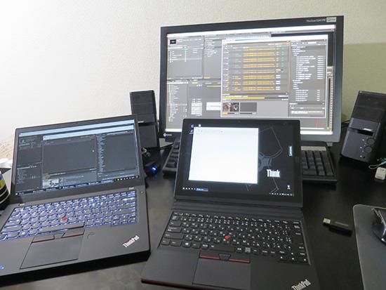 T460sとデスクトップPCで動画書き出し中X1 tabletでブログ更新