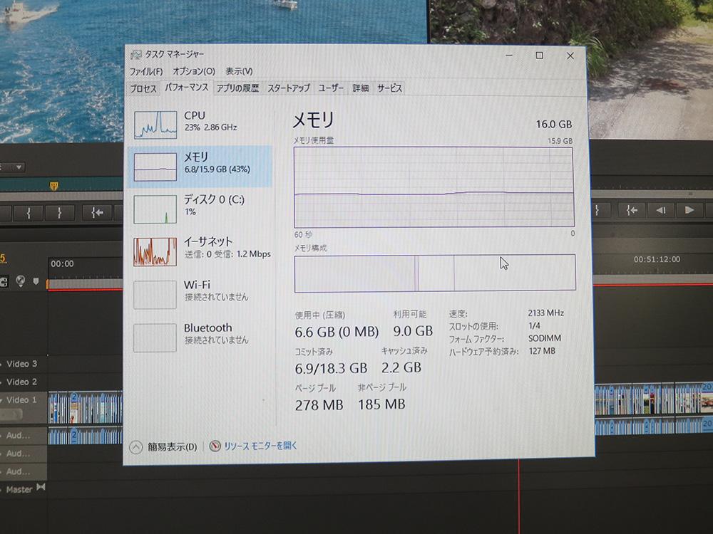 X260 複数のソフトを立ち上げてメモリ容量を確認してみると・・・