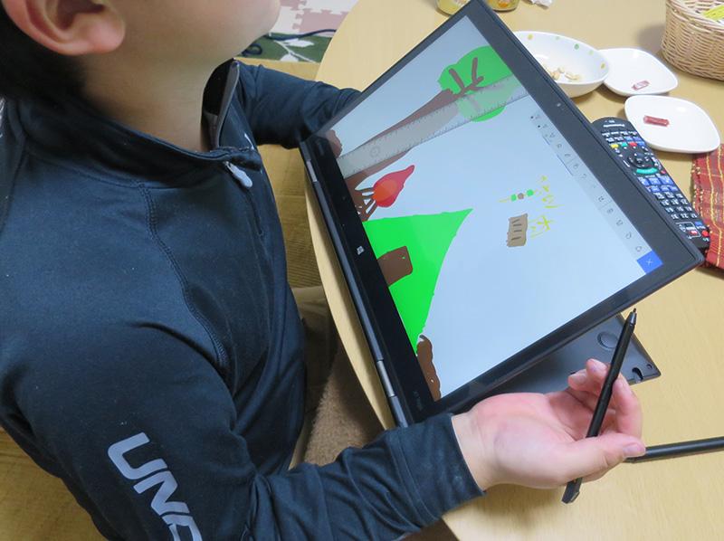 ThinkPad X1 Yoga デジタイザーペンで子どもがお絵かき