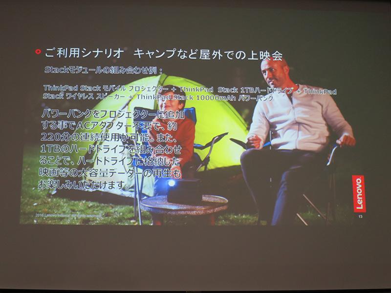ThinkPad Stack モバイルプロジェクター キャンプで上映会