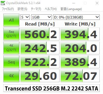 トランセンド M.2 2242 SSD ベンチマーク