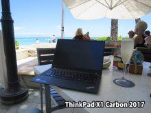 Thinkpad X1 Carbon 2017 持ち運んでハワイモアナサーフライダーのビーチバーで乾杯