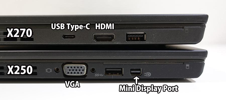 X270 X250 左側面 映像出力端子が変わった
