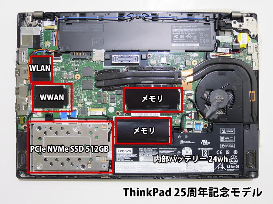 ThinkPad 25周年記念モデル 分解 WWAN アンテナ線あり 2242 SSDも認識