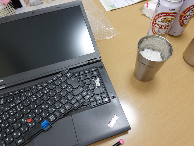 T440pのキーボードを交換しながらビールで乾杯
